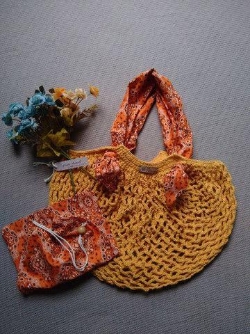 Bolsa de crochê alça de tecido + ecobag - mod03 - Foto 6