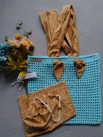 Bolsa de crochê alça de tecido + ecobag - Foto 6