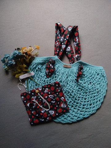 Bolsa de crochê alça de tecido + ecobag - mod03