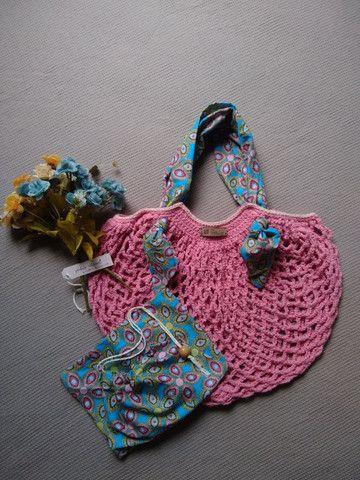 Bolsa de crochê alça de tecido + ecobag - mod03 - Foto 4