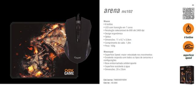 Combo Arena Mouse + Mousepad - Mc-102 Oex em Fortaleza - Foto 3