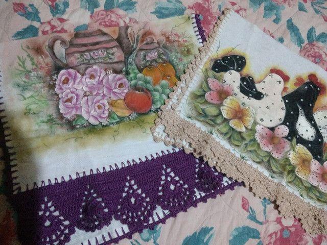 Panos de Copa pintados e barrado Crochet - Foto 2