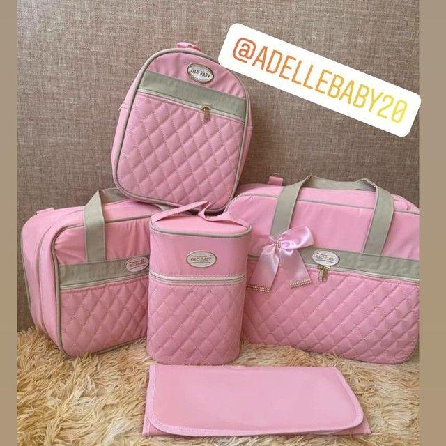 Kit bolsa maternidade 5 peças rosa