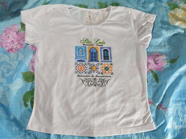 Blusa de malha feminina com estampa de São Luiz do Maranhão