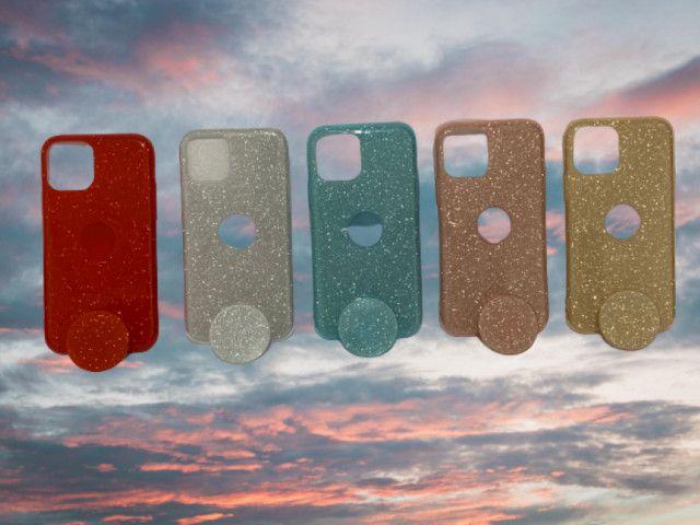 Capa Glitter com Pop Cel Iphone 11 Pro + Película 3D