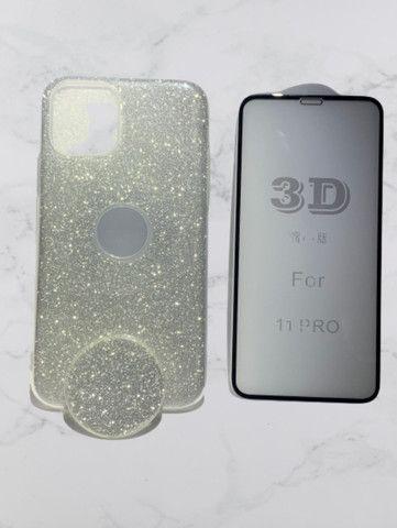 Capa Glitter com Pop Cel Iphone 11 Pro + Película 3D  - Foto 5