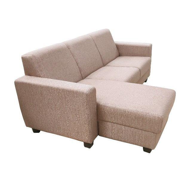Sofá Chaise 3 lugares tecido bege - Foto 2