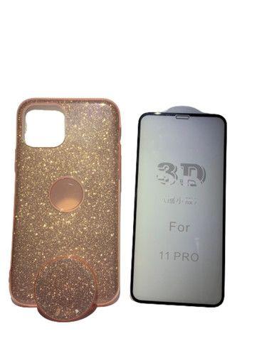 Capa Glitter com Pop Cel Iphone 11 Pro + Película 3D  - Foto 2