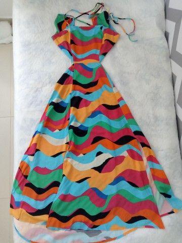 Vestido Estampado Waves Midi Tamanho P