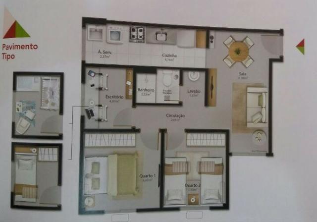 Apartamento de 2qts + 1 escritório semi pronto! Minha Casa Minha Vida