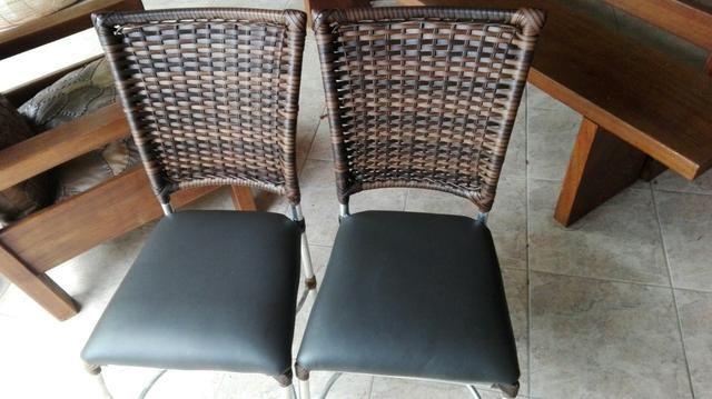 10 Cadeiras de alumínio couro tabaco