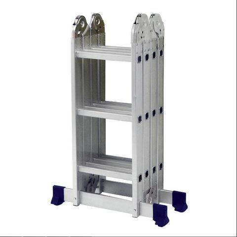Escada Articulada Dobrável Em Alumínio 12 Degraus Mor - Foto 4