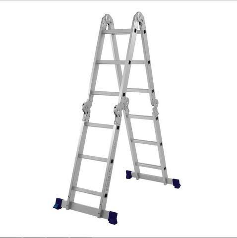 Escada Articulada Dobrável Em Alumínio 12 Degraus Mor