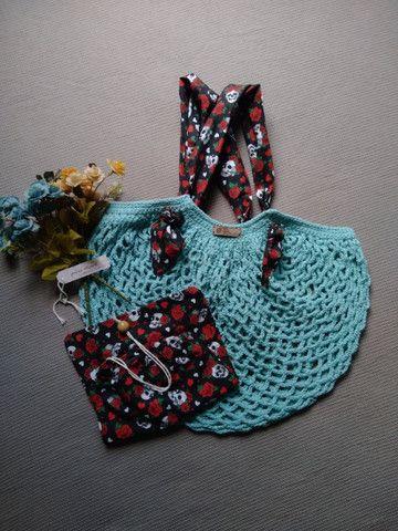 Bolsa de crochê alça de tecido + ecobag - mod03 - Foto 2
