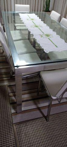 Mesa de vidro com vidro 10mm cromada  - Foto 5