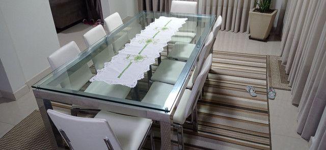 Mesa de vidro com vidro 10mm cromada  - Foto 3