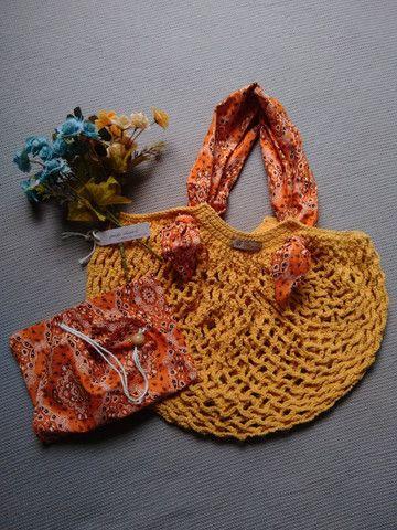 Bolsa de crochê alça de tecido + ecobag - mod03 - Foto 5