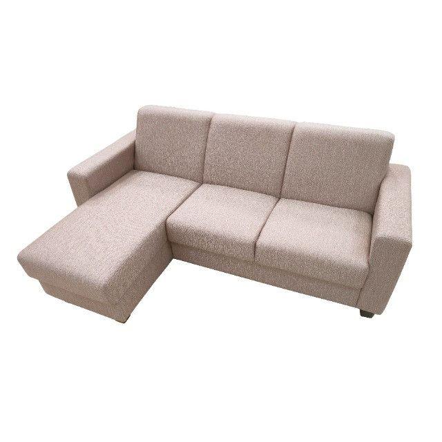 Sofá Chaise 3 lugares tecido bege - Foto 4