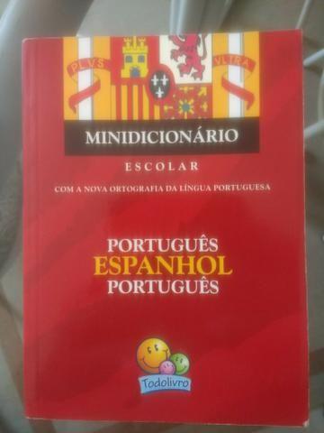 Mini dicionário Escolar Português Espanhol Português