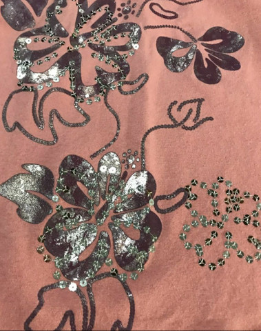 Camiseta de malha feminina com estampa de flor com lantejoulas  - Foto 5