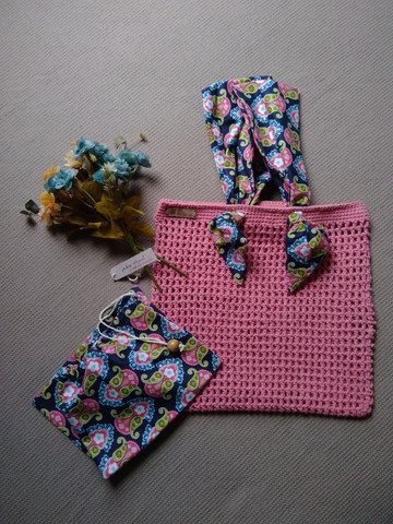 Bolsa de crochê alça de tecido + ecobag - Foto 4