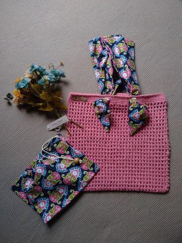 Bolsa de crochê alça de tecido + ecobag
