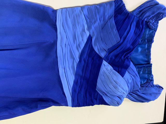 Vestido festa longo crepe azul tamanho 40