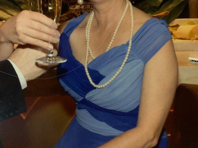 Vestido festa longo crepe azul tamanho 40 - Foto 5