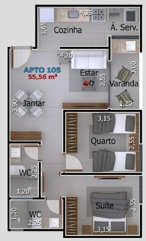 Apartamentos com 2 quartos no Portal do Sol/Quadramares - Foto 6