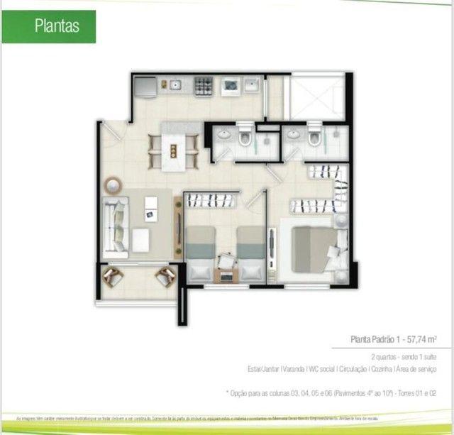 Duo residence, 2 e 3 qusrtos NOVO, pronto pra morar - Foto 2