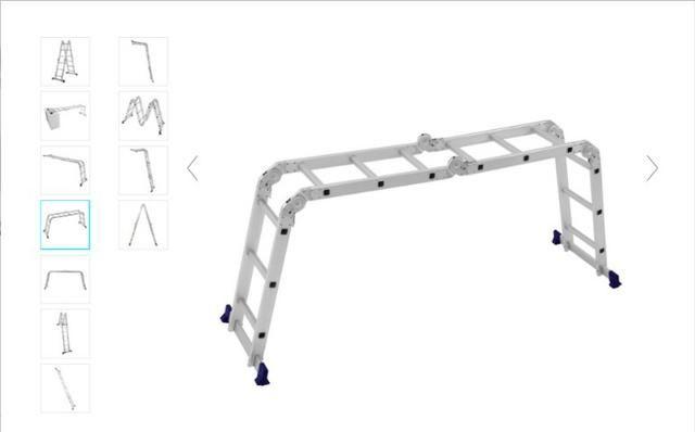 Escada Articulada Dobrável Em Alumínio 12 Degraus Mor - Foto 5
