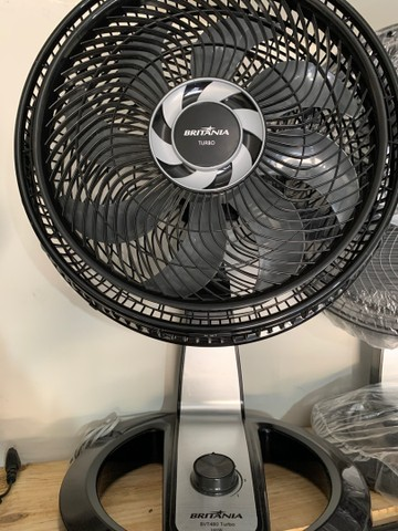 Ventilador 8 Pás Turbo Britânia Preto/Cinza 110v (novo) - Foto 2