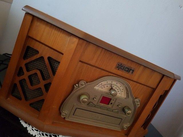 Vitrola retrô c/ cd, radio e toca fita - Foto 3