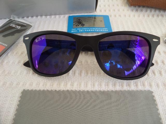a29a1365ce936 Óculos Ray Ban rb4195 Wayfarer Liteforce c  Lente azul Polarizado - Novo