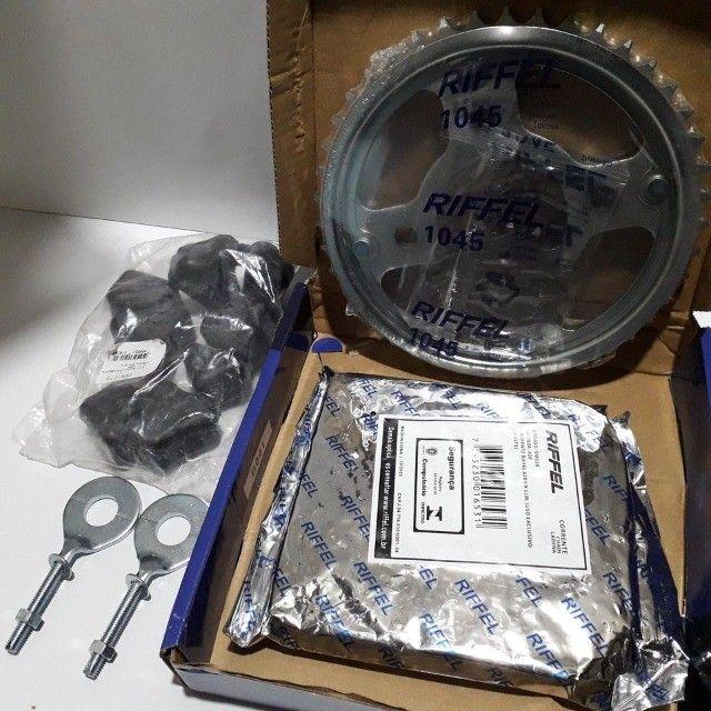 Kit Relação Transmissão Cg 150 Titan Fan 150 Original Riffel Titanium Aço 1045 - Foto 2