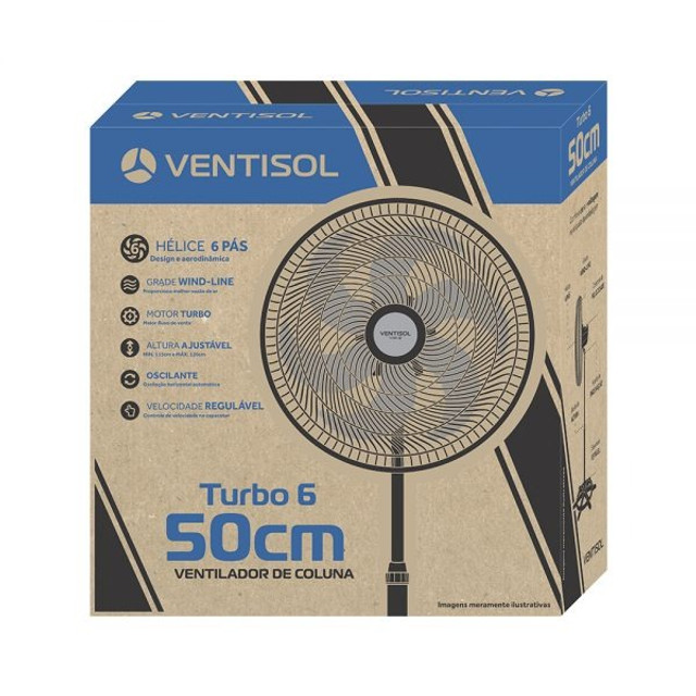 Super Ofertas - Ventilador de Coluna Preto 50cm Turbo 6 Pás - Foto 3
