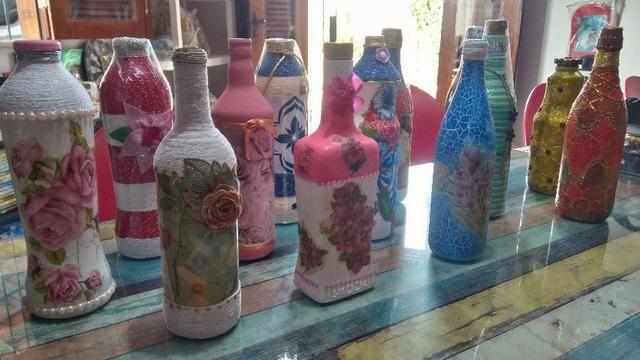 Decoração- Garrafas de vidro artesanais- Preços variados