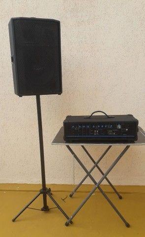 Som Igreja/Lazer: Potencia Entradas p/Microfones/Instrum.+Caixa Som+Coluna+Microfone+Cabo.