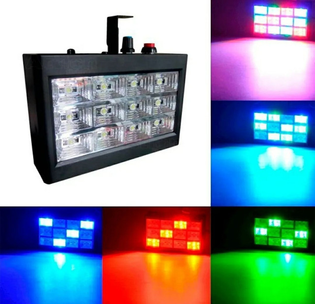 MINI STROBO 12 LEDS RGB RÍTMICO BIVOLT JOGO DE LUZ