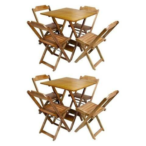 Conjuntos Dobráveis - Mesas 70 x 70 - com 2 ou 4 cadeiras - Foto 2