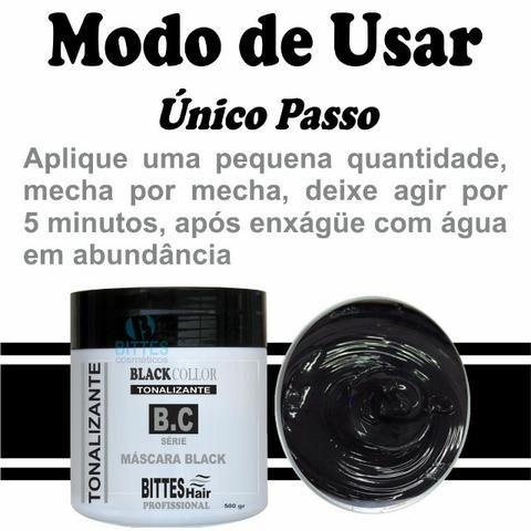 Máscara Black 500 g Tonalizante Color Preto Cabelos Escuros e Brilhosos Bittes Hair - Foto 3