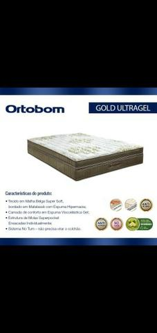 Conjunto Ortobom Super King 193x203 Gold Ultragel Novo - Foto 2