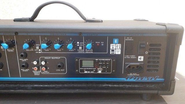Som Igreja/Lazer: Potencia Entradas p/Microfones/Instrum.+Caixa Som+Coluna+Microfone+Cabo. - Foto 4