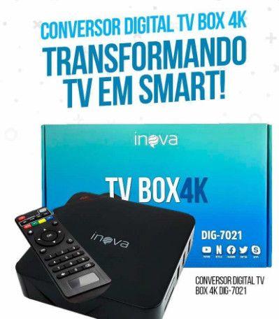 TV Box 4K 4GB   32GB Velocidade 5G Transforma TV em Smart Original Inova