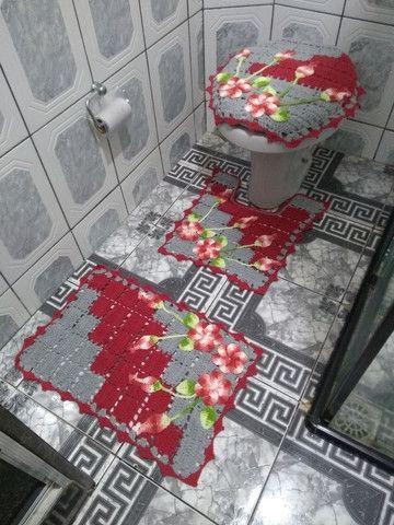Lindos kits de banheiro em crochê 4 peças.