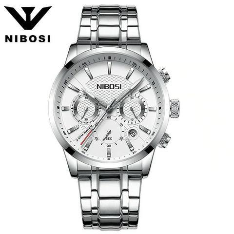 b409c546dd7 Relógio Masculino Nibosi 2313 30 Metros Prata Com Branco ...