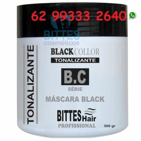 Máscara Black 500 g Tonalizante Color Preto Cabelos Escuros e Brilhosos Bittes Hair