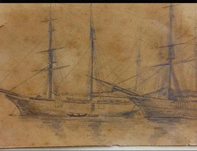 Quadro Antigo Em Carvão 1880 - Foto 2