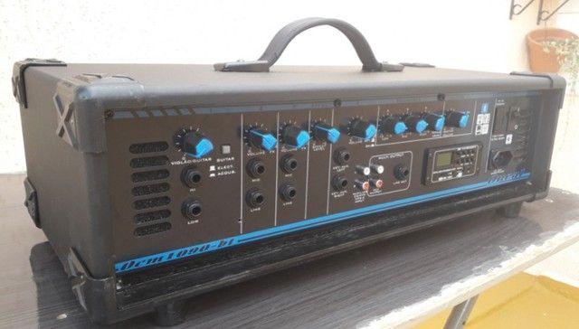 Som Igreja/Lazer: Potencia Entradas p/Microfones/Instrum.+Caixa Som+Coluna+Microfone+Cabo. - Foto 2