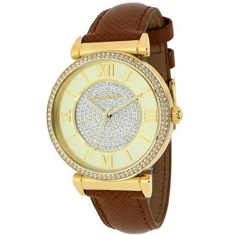 Relógio Michael Kors MK2375 Strass Couro Dourado Caixa Manual